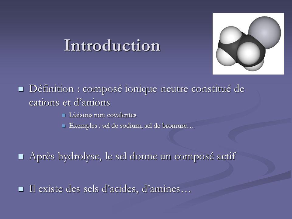 Introduction Définition : composé ionique neutre constitué de cations et danions Définition : composé ionique neutre constitué de cations et danions L