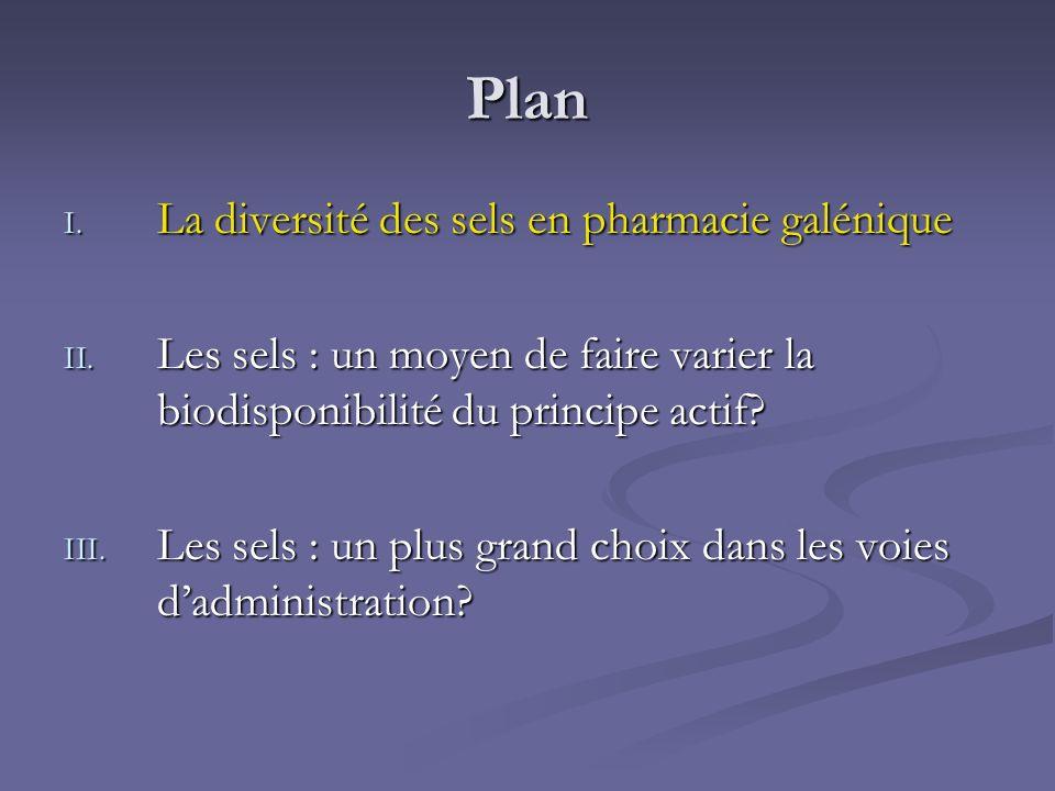 Plan I. La diversité des sels en pharmacie galénique II. Les sels : un moyen de faire varier la biodisponibilité du principe actif? III. Les sels : un