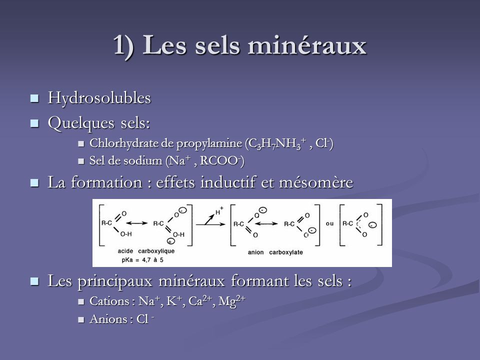 1) Les sels minéraux Hydrosolubles Hydrosolubles Quelques sels: Quelques sels: Chlorhydrate de propylamine (C 3 H 7 NH 3 +, Cl - ) Chlorhydrate de pro