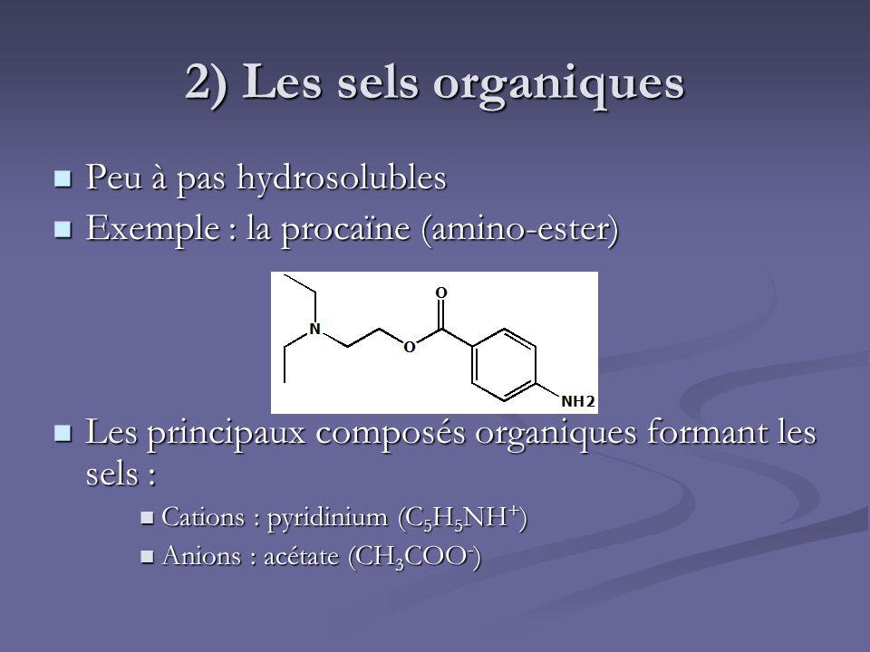2) Les sels organiques Peu à pas hydrosolubles Peu à pas hydrosolubles Exemple : la procaïne (amino-ester) Exemple : la procaïne (amino-ester) Les pri