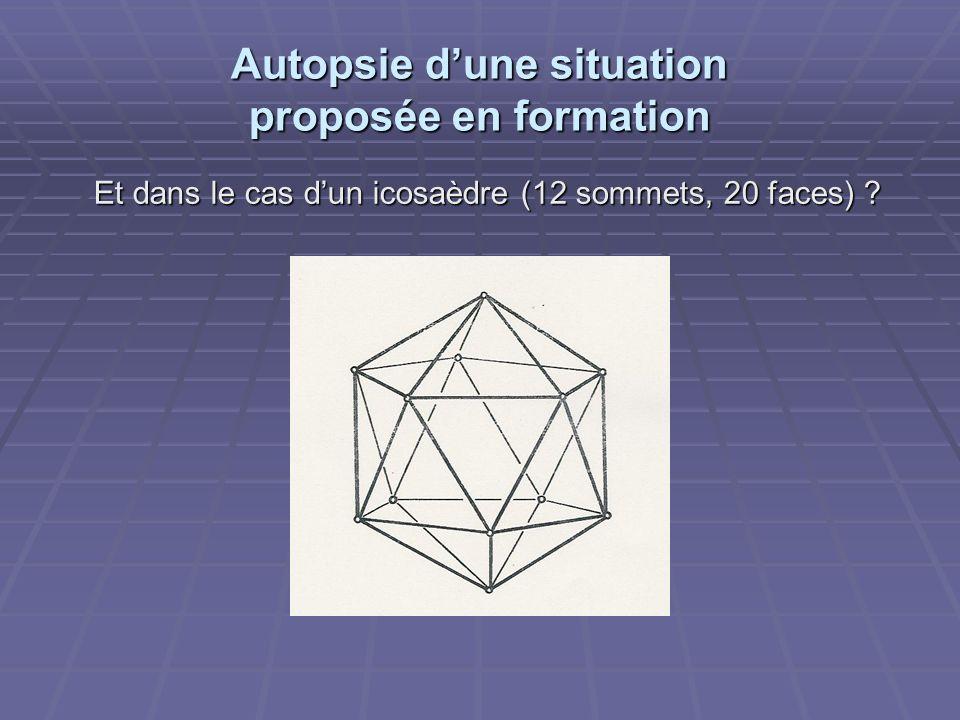 Autopsie dune situation proposée en formation Et dans le cas dun icosaèdre (12 sommets, 20 faces) ?