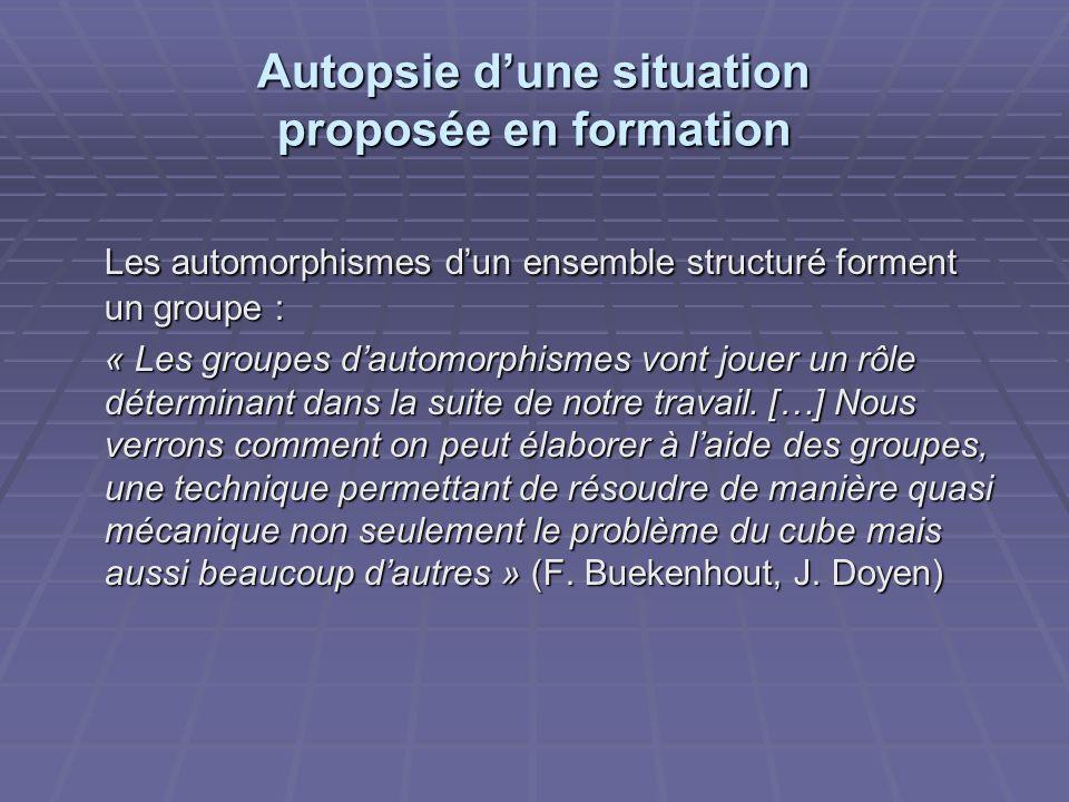 Autopsie dune situation proposée en formation Les automorphismes dun ensemble structuré forment un groupe : « Les groupes dautomorphismes vont jouer un rôle déterminant dans la suite de notre travail.