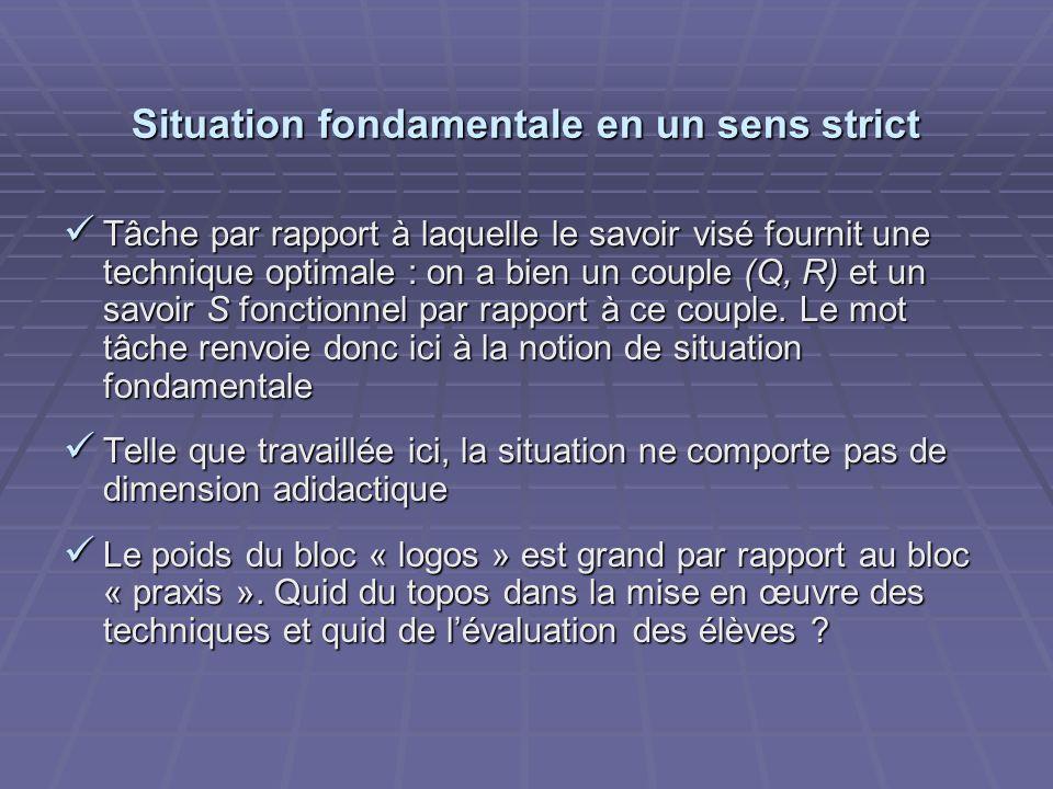 Situation fondamentale en un sens strict Tâche par rapport à laquelle le savoir visé fournit une technique optimale : on a bien un couple (Q, R) et un savoir S fonctionnel par rapport à ce couple.