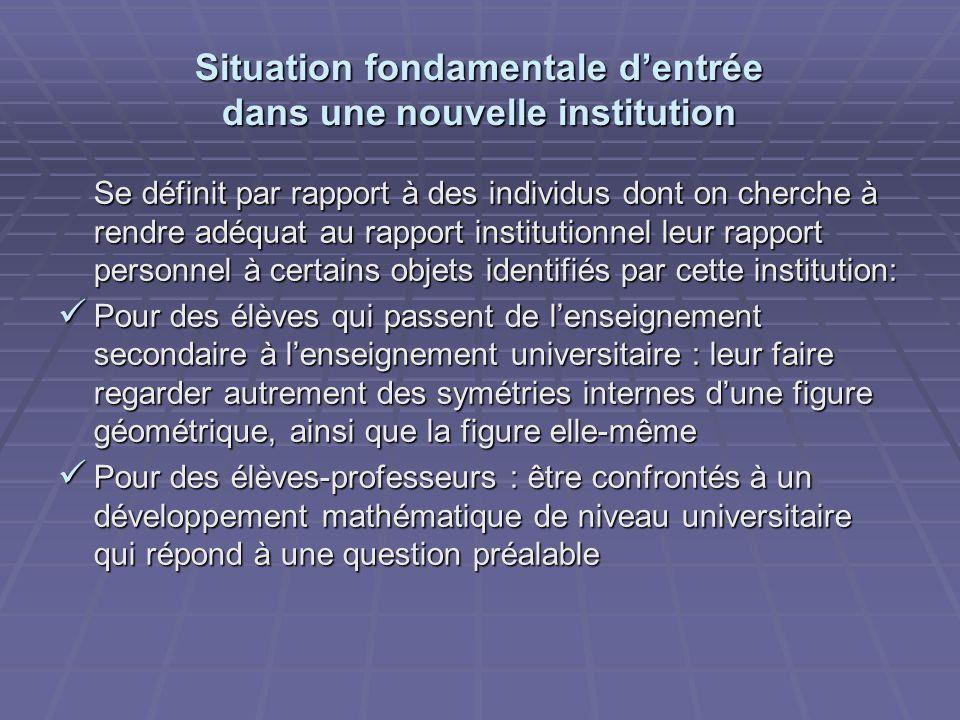 Situation fondamentale dentrée dans une nouvelle institution Se définit par rapport à des individus dont on cherche à rendre adéquat au rapport instit
