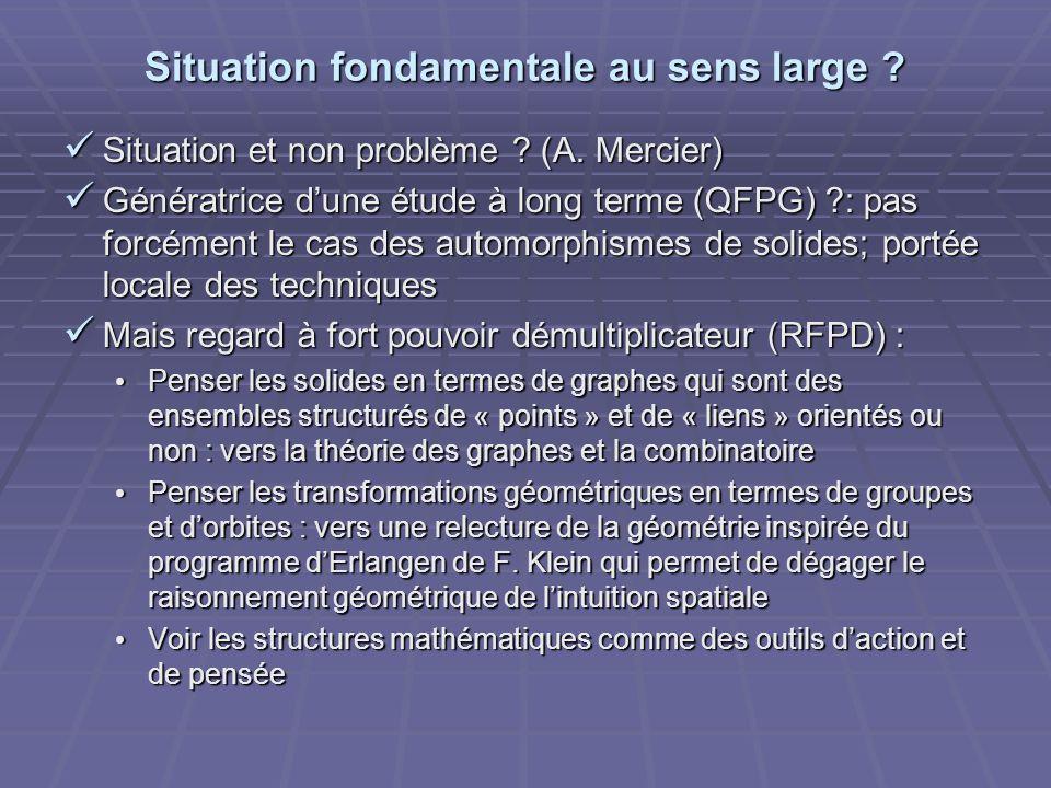 Situation fondamentale au sens large ? Situation et non problème ? (A. Mercier) Situation et non problème ? (A. Mercier) Génératrice dune étude à long