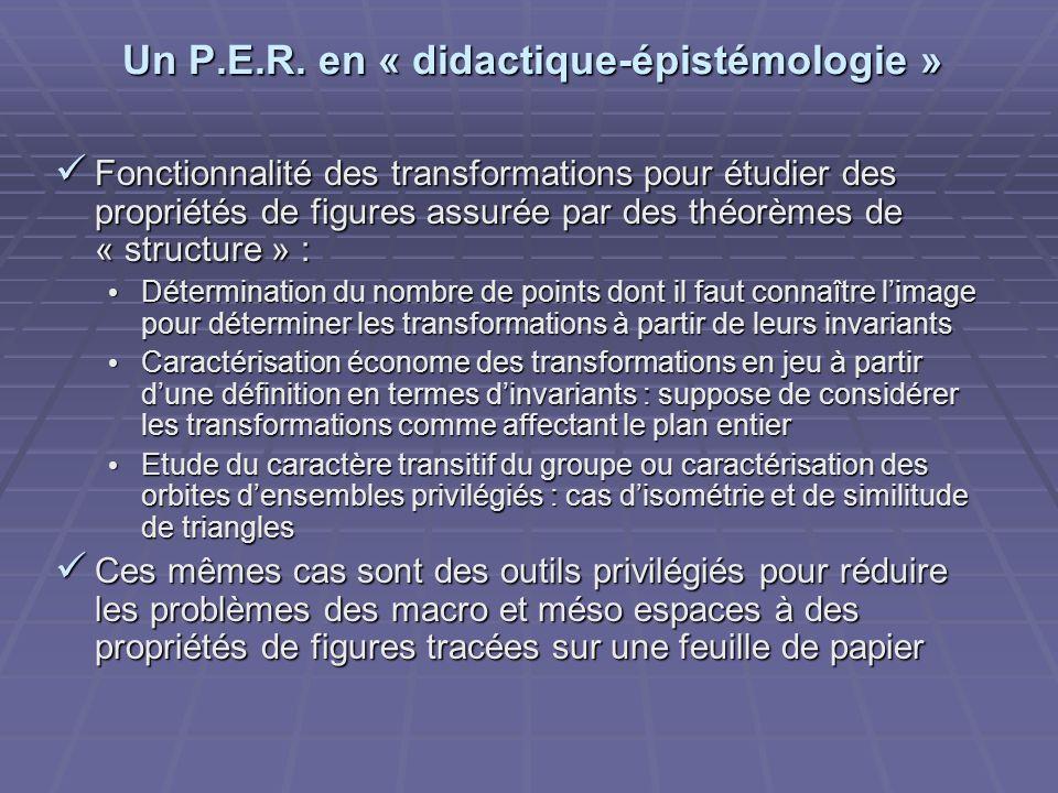 Un P.E.R. en « didactique-épistémologie » Fonctionnalité des transformations pour étudier des propriétés de figures assurée par des théorèmes de « str
