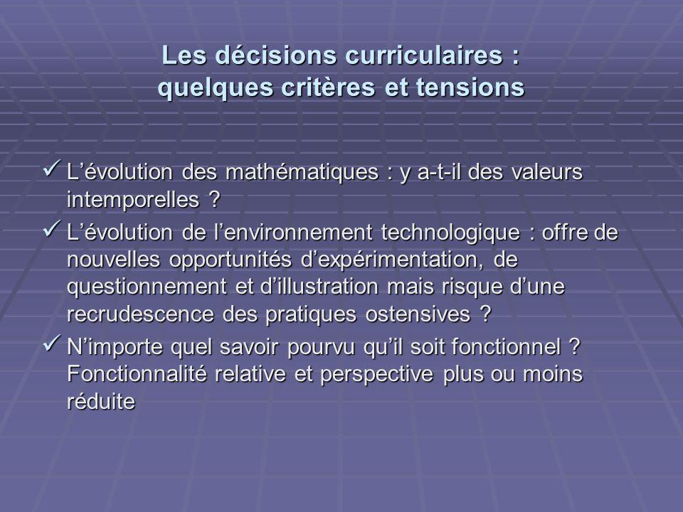 Les décisions curriculaires : quelques critères et tensions Lévolution des mathématiques : y a-t-il des valeurs intemporelles ? Lévolution des mathéma