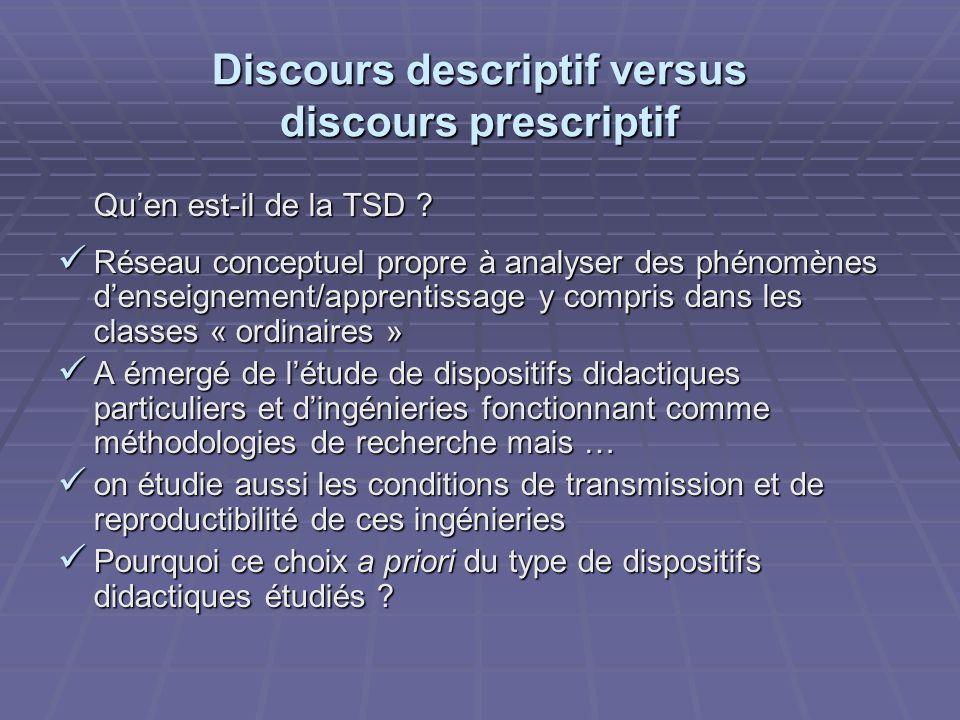 Discours descriptif versus discours prescriptif Quen est-il de la TSD ? Réseau conceptuel propre à analyser des phénomènes denseignement/apprentissage