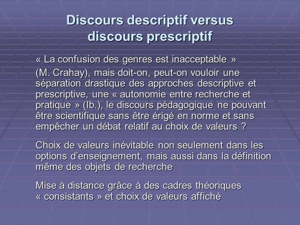 Discours descriptif versus discours prescriptif « La confusion des genres est inacceptable » (M. Crahay), mais doit-on, peut-on vouloir une séparation