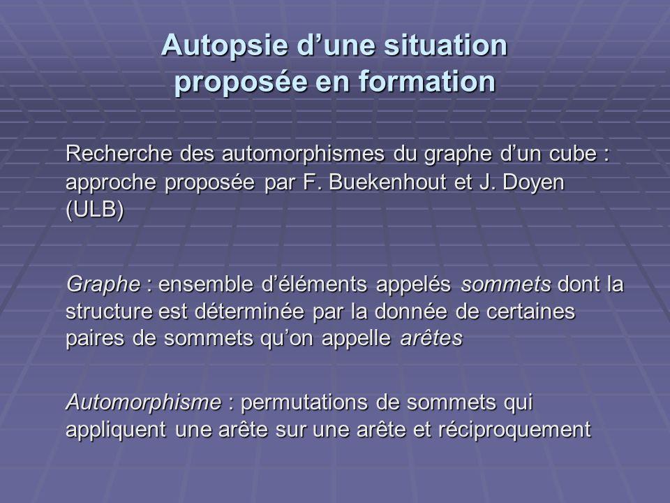 Autopsie dune situation proposée en formation Recherche des automorphismes du graphe dun cube : approche proposée par F. Buekenhout et J. Doyen (ULB)