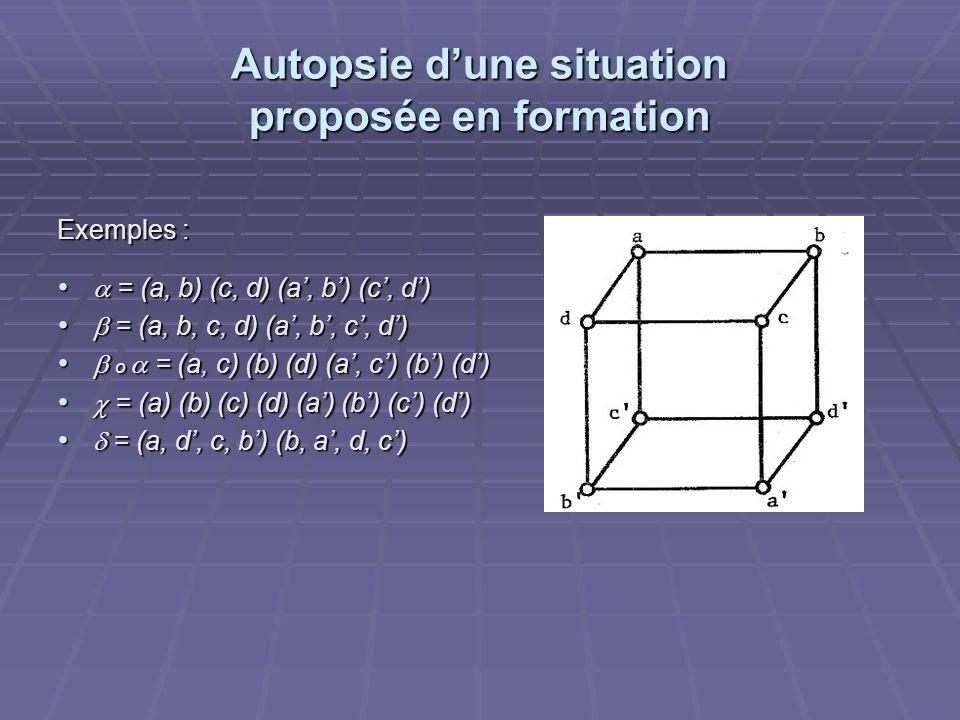 Autopsie dune situation proposée en formation Exemples : = (a, b) (c, d) (a, b) (c, d) = (a, b) (c, d) (a, b) (c, d) = (a, b, c, d) (a, b, c, d) = (a,