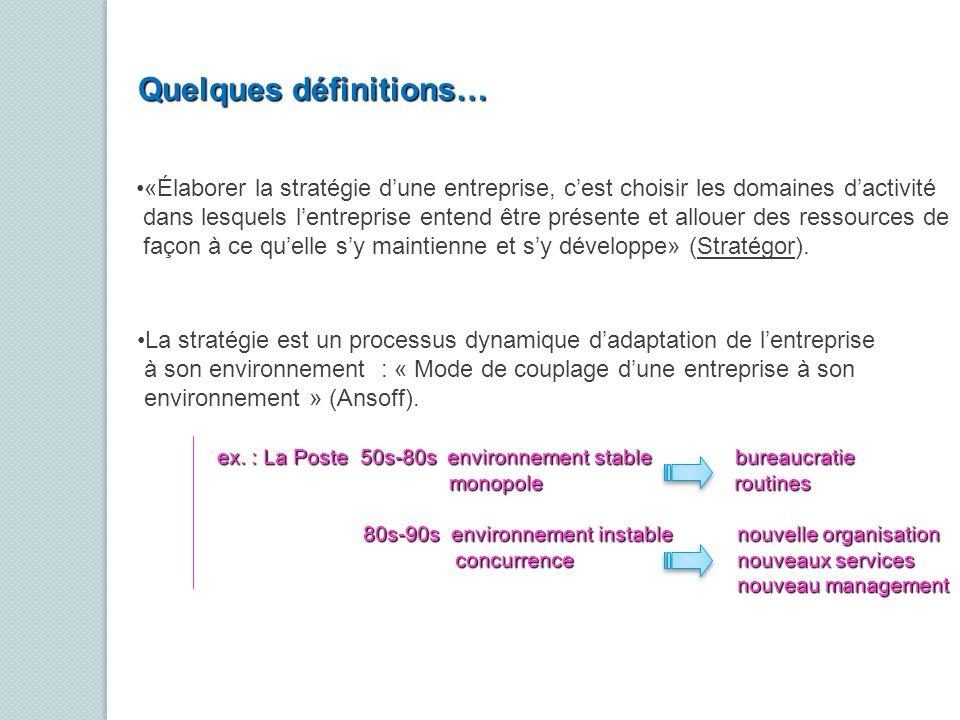 «Élaborer la stratégie dune entreprise, cest choisir les domaines dactivité dans lesquels lentreprise entend être présente et allouer des ressources d