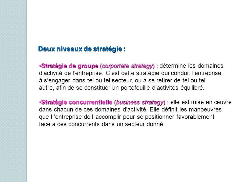 Deux niveaux de stratégie : Stratégie de groupe (corportate strategy) : détermine les domainesStratégie de groupe (corportate strategy) : détermine le