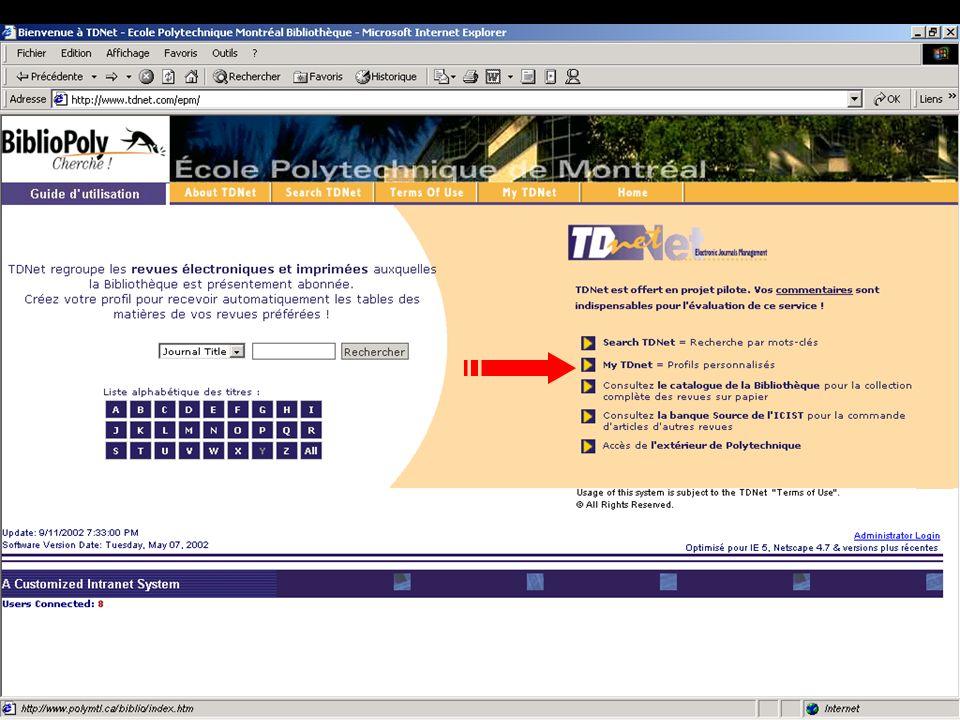 Au menu 1.Répertoire des publications scientifiques et techniques de lÉcole 2.Nouvelle interface pour les revues 3.Choix des nouveaux livres 4.Dernières ressources électroniques 5.Développements à venir