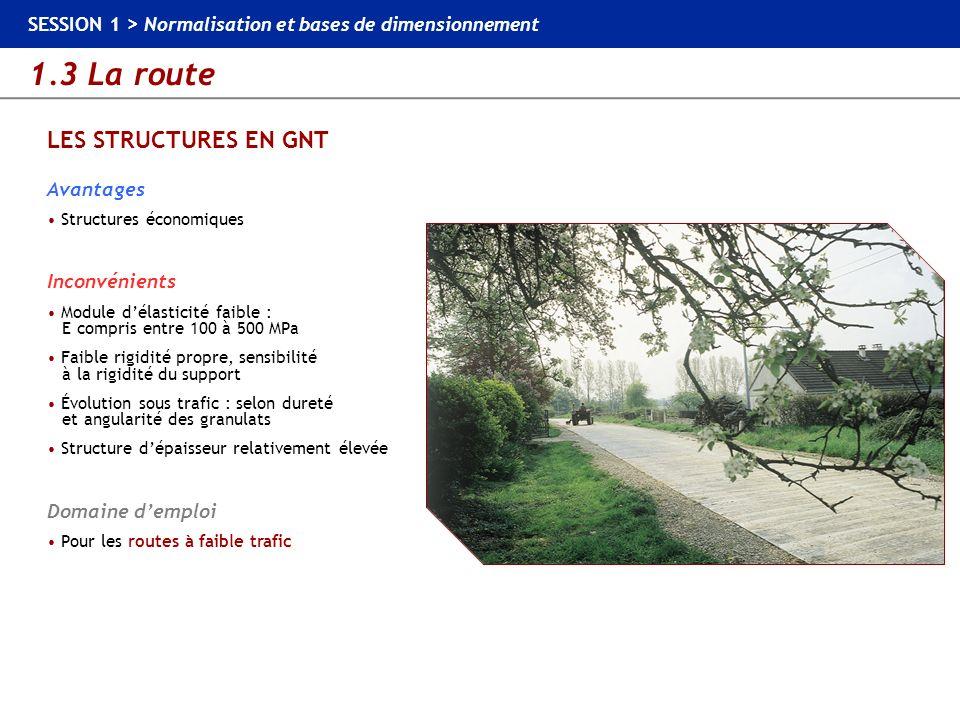 1.3 La route SESSION 1 > Normalisation et bases de dimensionnement LES STRUCTURES EN GNT Avantages Structures économiques Inconvénients Module délasti