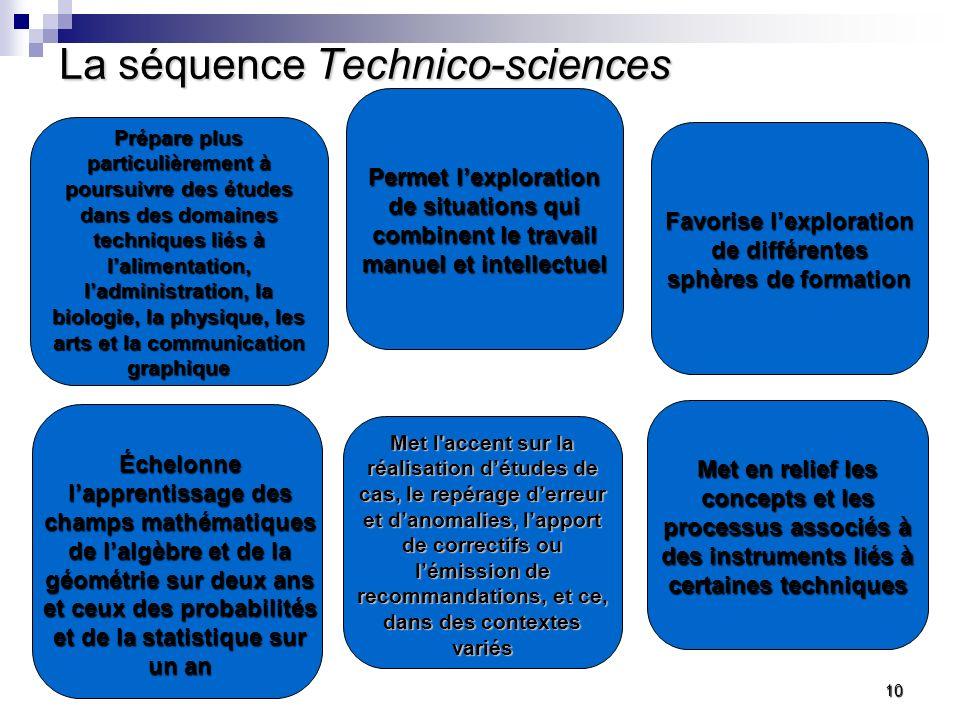 La séquence Technico-sciences Prépare plus particulièrement à poursuivre des études dans des domaines techniques liés à lalimentation, ladministration