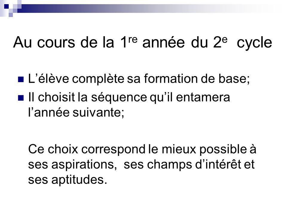 Au cours de la 1 re année du 2 e cycle Lélève complète sa formation de base; Il choisit la séquence quil entamera lannée suivante; Ce choix correspond