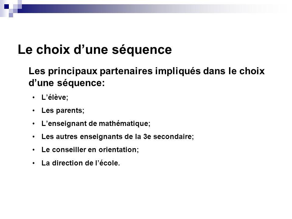 Le choix dune séquence Les principaux partenaires impliqués dans le choix dune séquence: Lélève; Les parents; Lenseignant de mathématique; Les autres