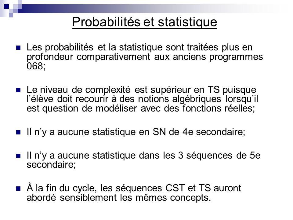 Probabilités et statistique Les probabilités et la statistique sont traitées plus en profondeur comparativement aux anciens programmes 068; Le niveau