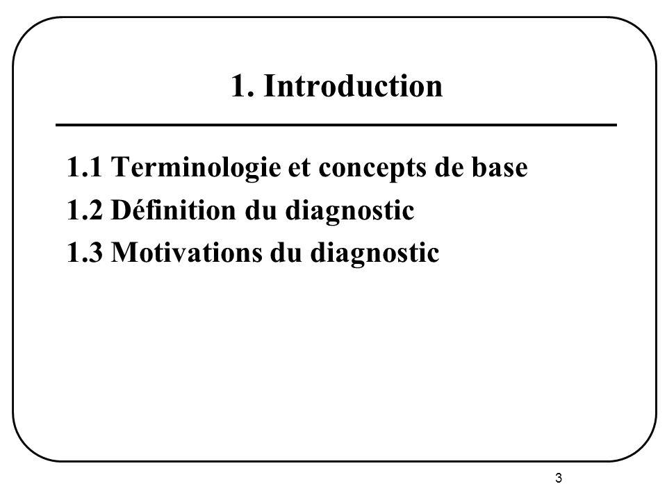 3 1. Introduction 1.1 Terminologie et concepts de base 1.2 Définition du diagnostic 1.3 Motivations du diagnostic