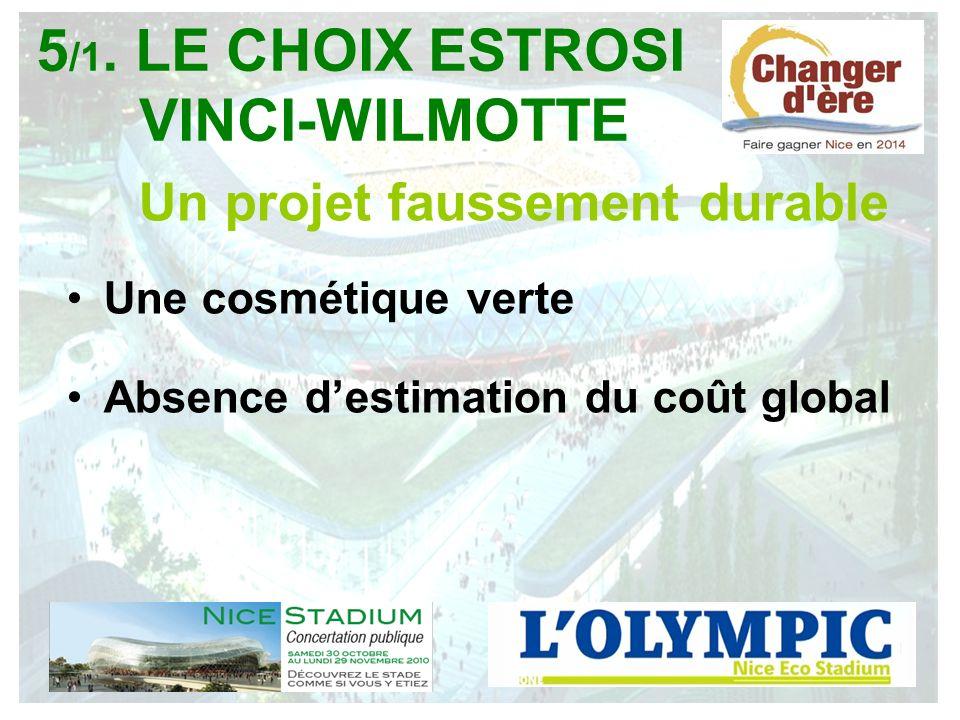 Un projet faussement durable Une cosmétique verte Absence destimation du coût global 5 /1. LE CHOIX ESTROSI VINCI-WILMOTTE
