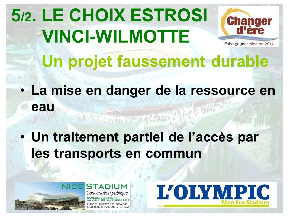 Un projet faussement durable La mise en danger de la ressource en eau Un traitement partiel de laccès par les transports en commun 5 /2. LE CHOIX ESTR