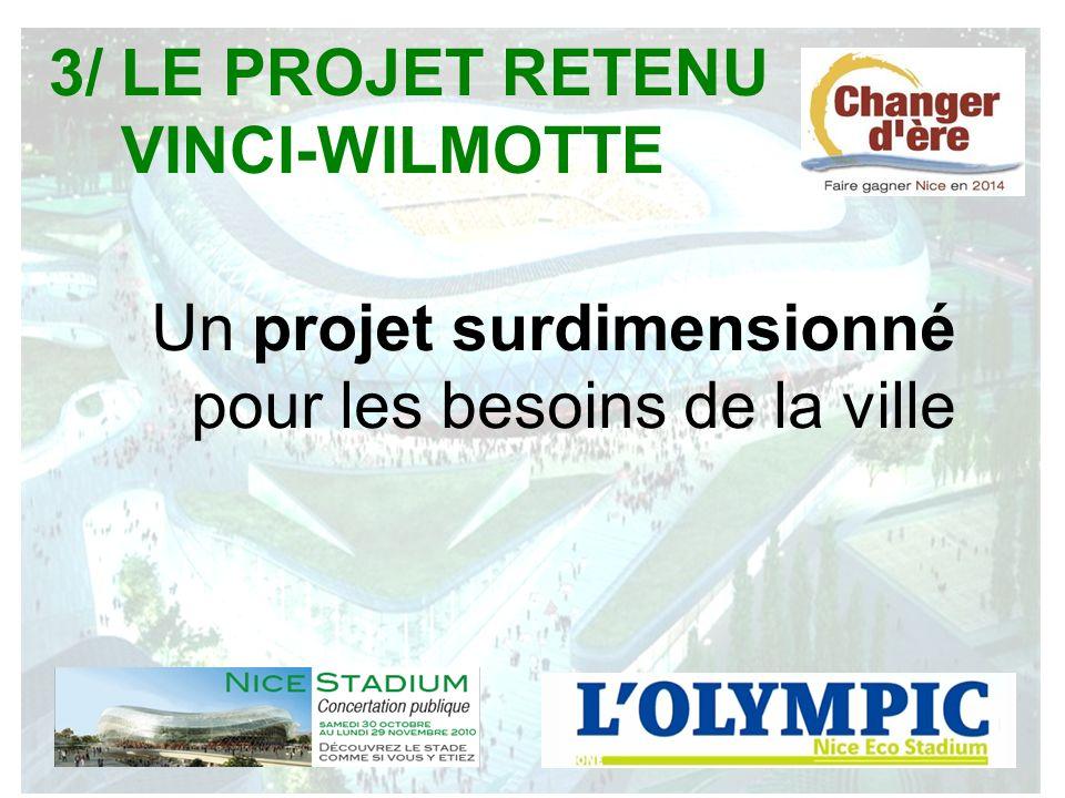 3/ LE PROJET RETENU VINCI-WILMOTTE Un projet surdimensionné pour les besoins de la ville