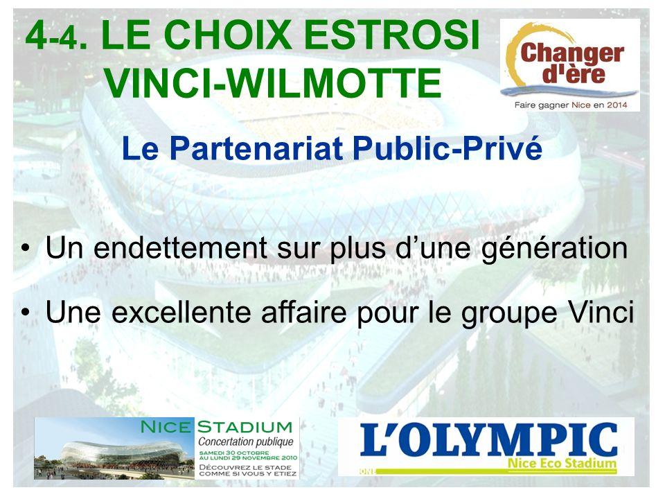 Le Partenariat Public-Privé Un endettement sur plus dune génération Une excellente affaire pour le groupe Vinci 4 -4. LE CHOIX ESTROSI VINCI-WILMOTTE