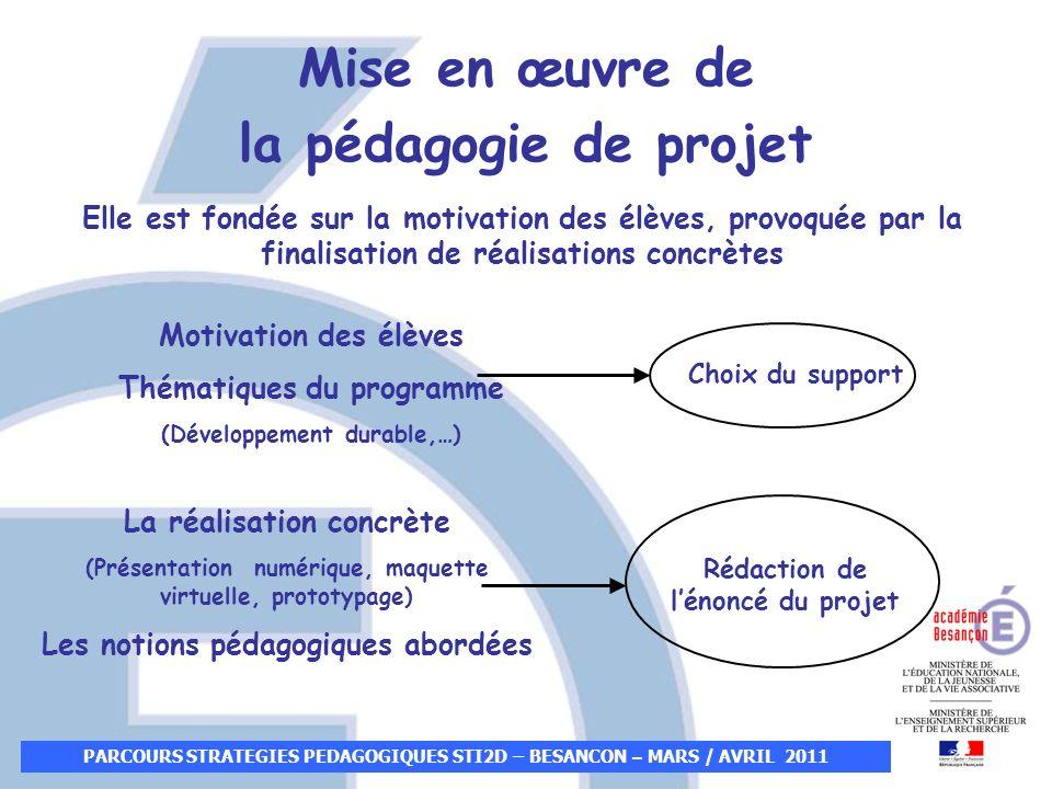 PARCOURS STRATEGIES PEDAGOGIQUES STI2D – BESANCON – MARS / AVRIL 2011 Mise en œuvre de la pédagogie de projet Choix du support Rédaction de lénoncé du