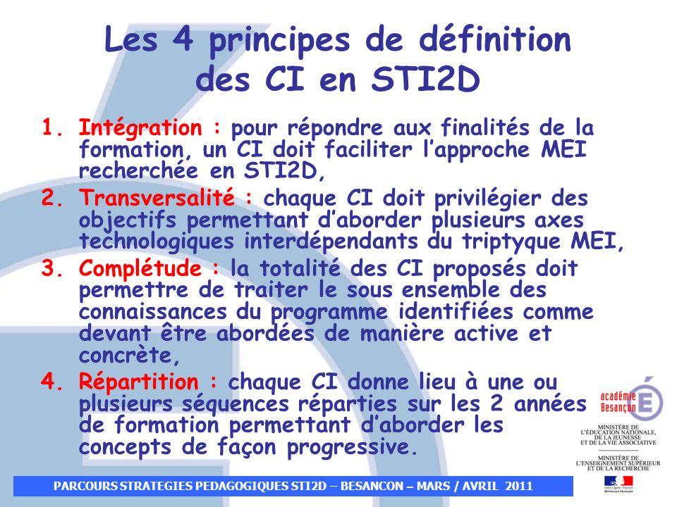 PARCOURS STRATEGIES PEDAGOGIQUES STI2D – BESANCON – MARS / AVRIL 2011 Les 4 principes de définition des CI en STI2D 1.Intégration : pour répondre aux
