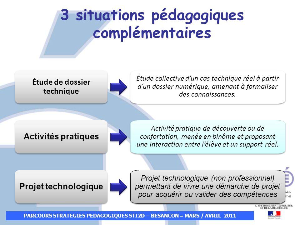 PARCOURS STRATEGIES PEDAGOGIQUES STI2D – BESANCON – MARS / AVRIL 2011 3 situations pédagogiques complémentaires Étude de dossier technique Activités p
