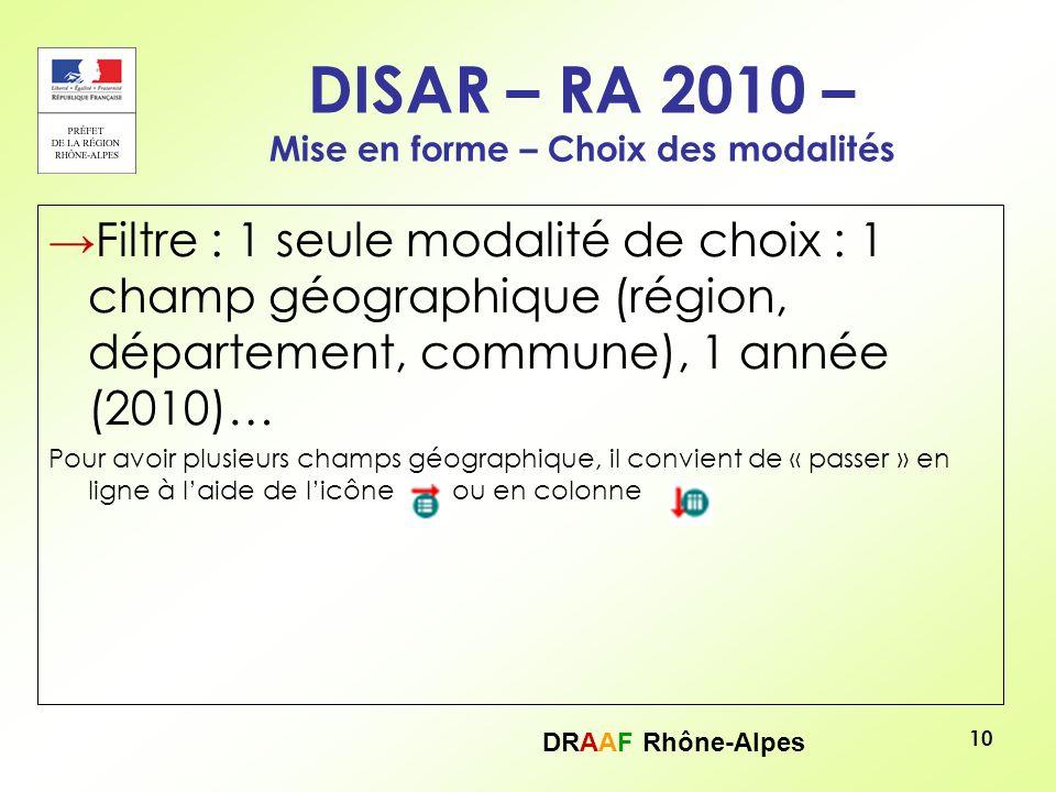 DRAAF Rhône-Alpes 10 DISAR – RA 2010 – Mise en forme – Choix des modalités Filtre : 1 seule modalité de choix : 1 champ géographique (région, départem