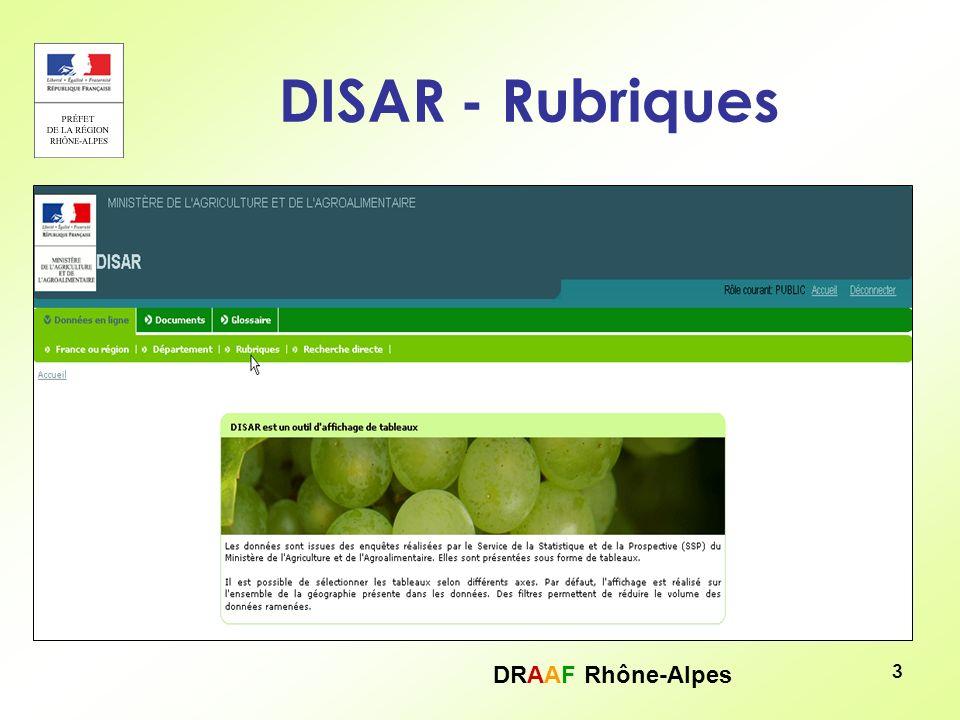 DRAAF Rhône-Alpes 14 DISAR – RA 2010 – Affichage des résultats Le tableau apparaît, pour avoir la liste des communes du département il suffit de cliquer sur la croix bleue :