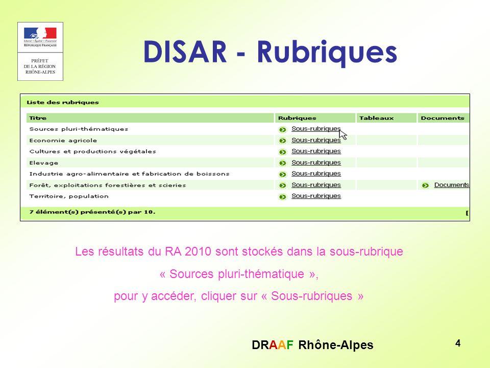 DRAAF Rhône-Alpes 4 DISAR - Rubriques Les résultats du RA 2010 sont stockés dans la sous-rubrique « Sources pluri-thématique », pour y accéder, clique