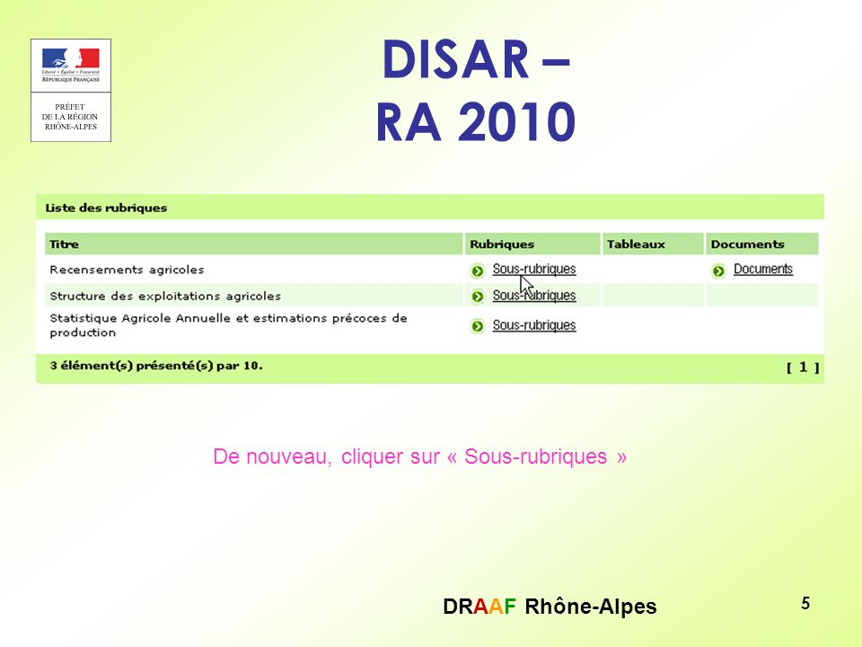 DRAAF Rhône-Alpes 6 DISAR – RA 2010 Rubriques Liste des rubriques des RA 2000 et 2010 : pour accéder aux tableaux de données, cliquer sur « Tableaux »