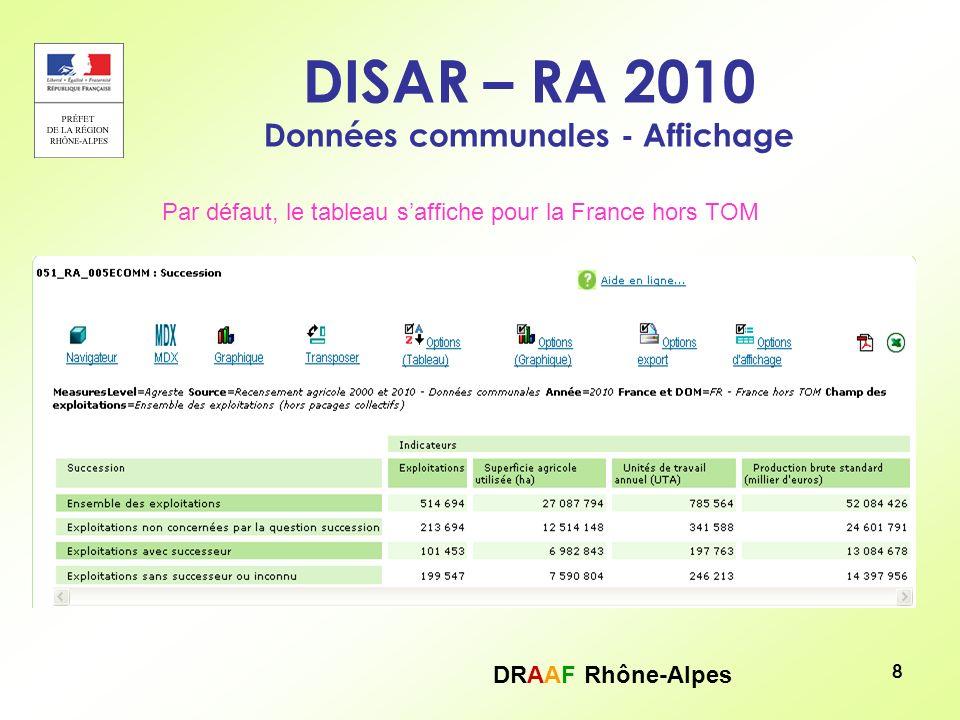 DRAAF Rhône-Alpes 9 DISAR – RA 2010 – Mise en forme – Choix des modalités Licône « Navigateur » permet de mettre en forme le tableau, de choisir les modalités (géographie, période, indicateurs…) Cf.