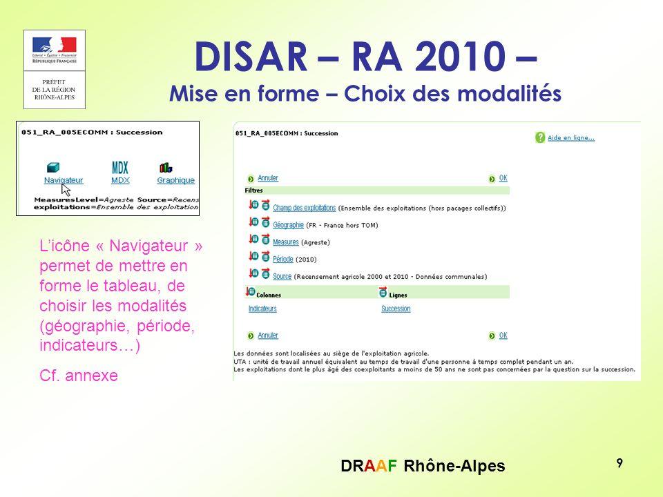 DRAAF Rhône-Alpes 10 DISAR – RA 2010 – Mise en forme – Choix des modalités Filtre : 1 seule modalité de choix : 1 champ géographique (région, département, commune), 1 année (2010)… Pour avoir plusieurs champs géographique, il convient de « passer » en ligne à laide de licône ou en colonne