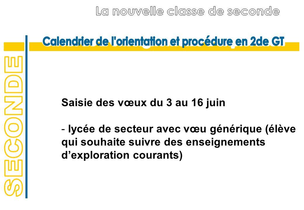 Saisie des vœux du 3 au 16 juin - lycée de secteur avec vœu générique (élève qui souhaite suivre des enseignements dexploration courants)