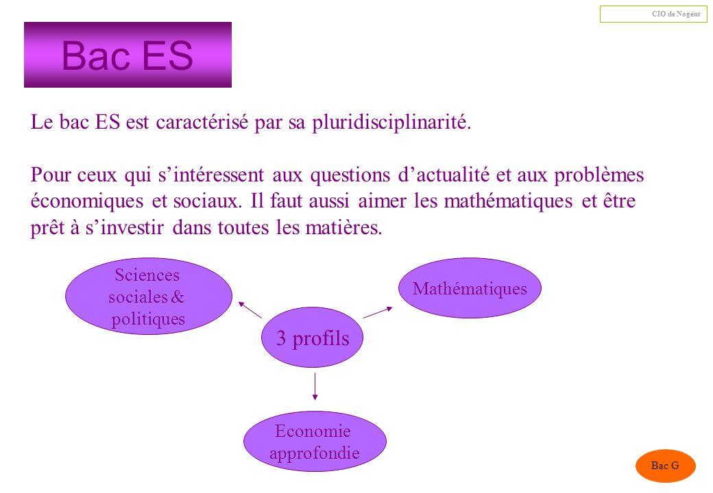 Bac ES Le bac ES est caractérisé par sa pluridisciplinarité.
