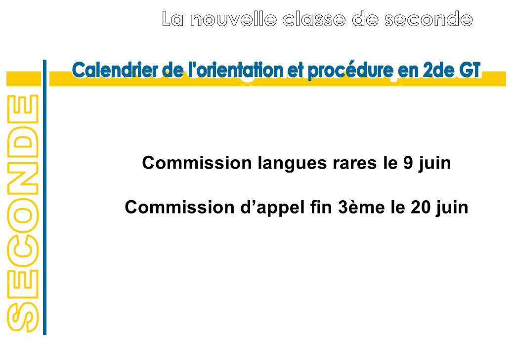 Commission langues rares le 9 juin Commission dappel fin 3ème le 20 juin