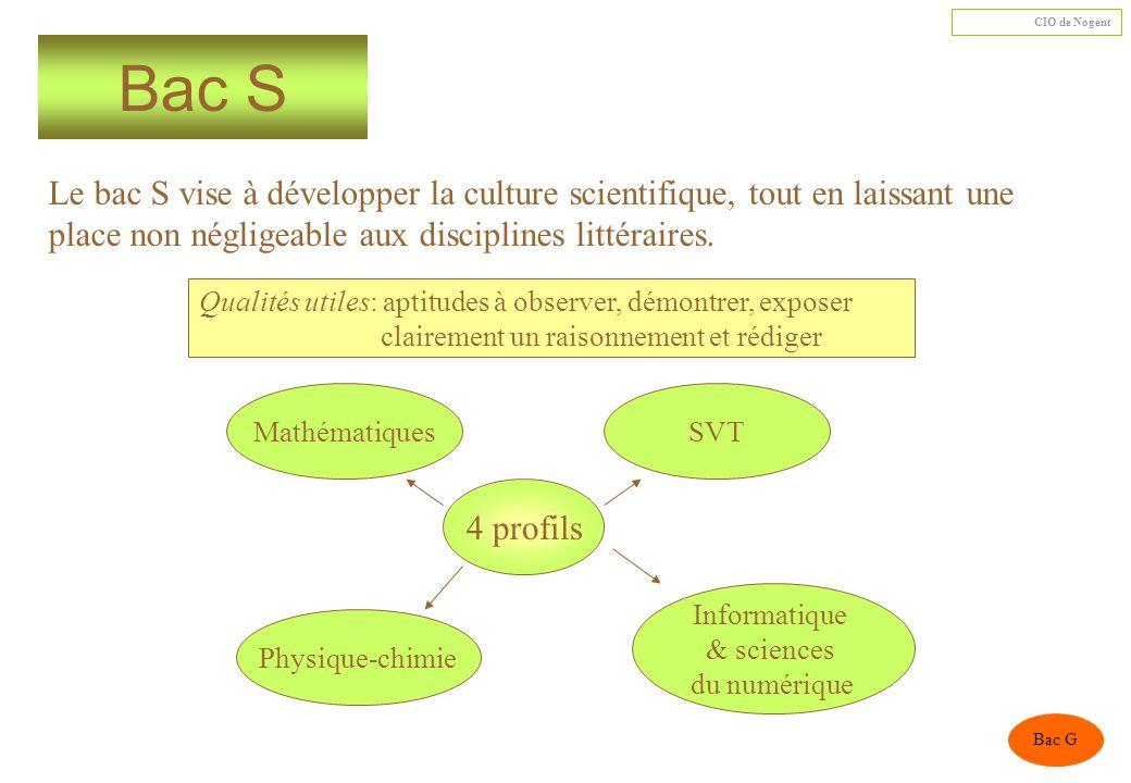 Bac S Le bac S vise à développer la culture scientifique, tout en laissant une place non négligeable aux disciplines littéraires.