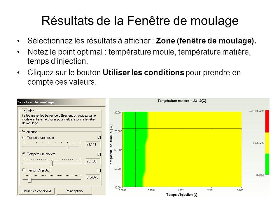 Résultats de la Fenêtre de moulage Sélectionnez les résultats à afficher : Zone (fenêtre de moulage). Notez le point optimal : température moule, temp