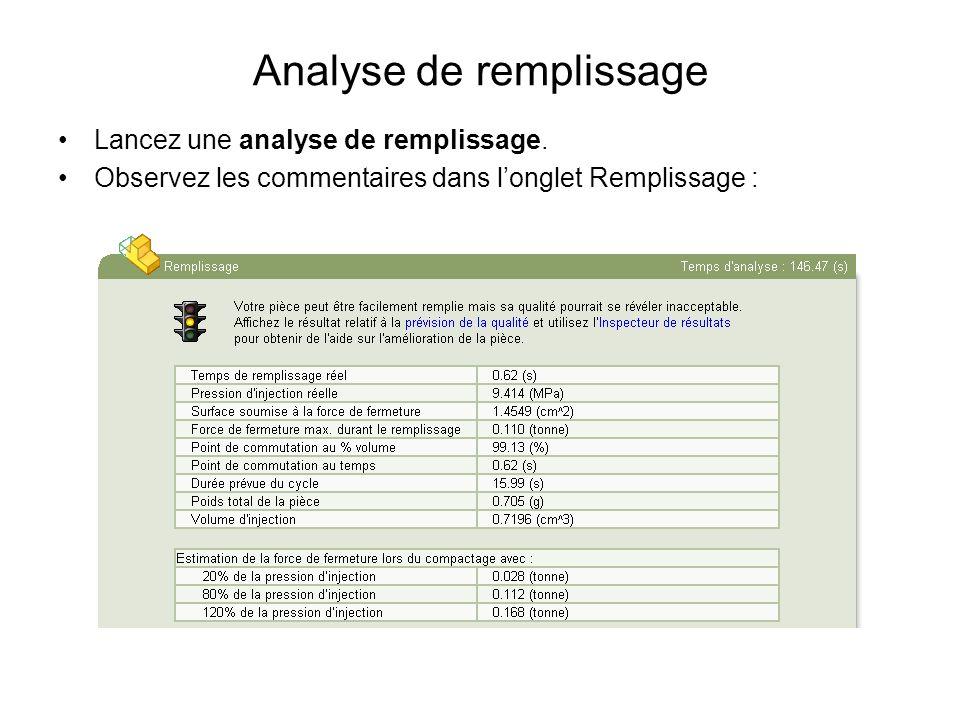 Analyse de remplissage Lancez une analyse de remplissage. Observez les commentaires dans longlet Remplissage :