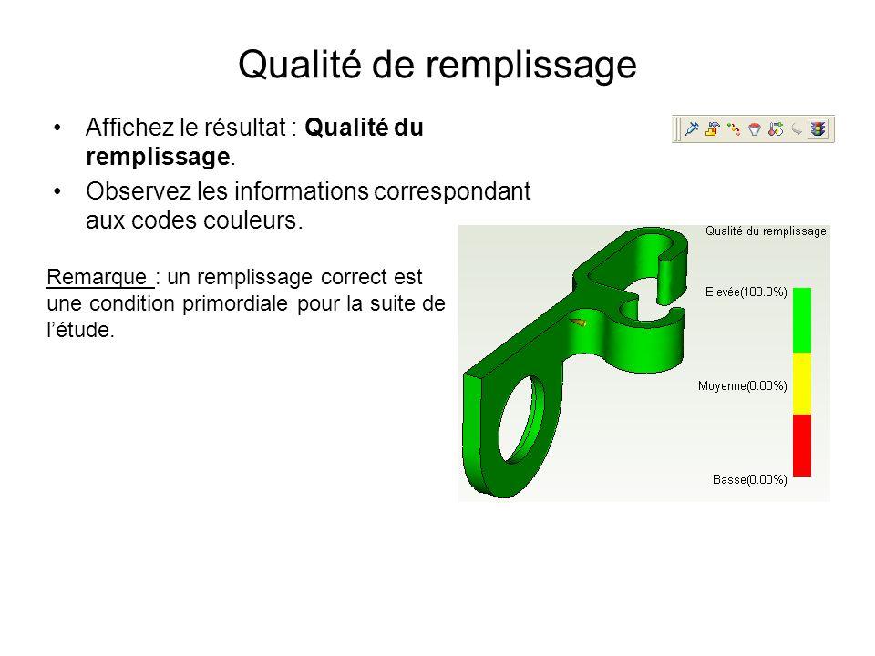 Qualité de remplissage Affichez le résultat : Qualité du remplissage. Observez les informations correspondant aux codes couleurs. Remarque : un rempli