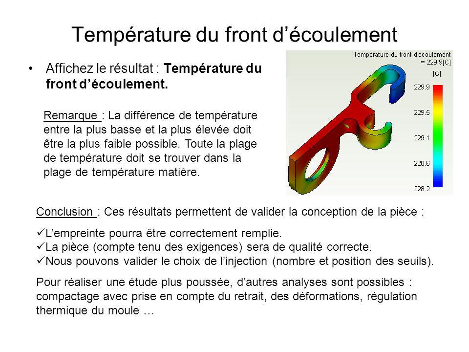 Température du front découlement Affichez le résultat : Température du front découlement. Remarque : La différence de température entre la plus basse