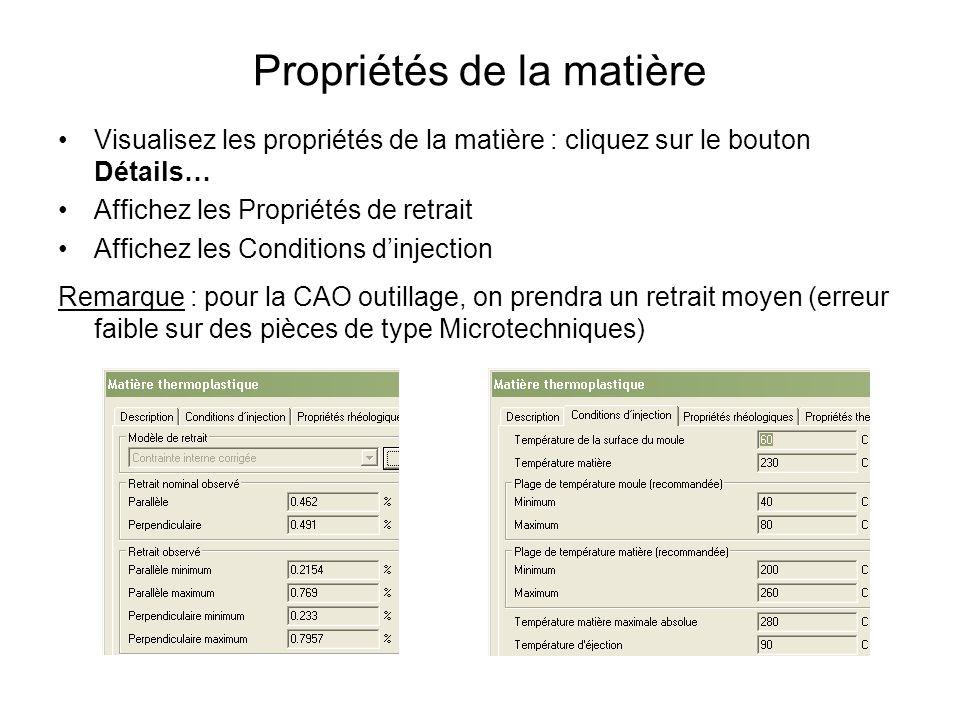 Propriétés de la matière Visualisez les propriétés de la matière : cliquez sur le bouton Détails… Affichez les Propriétés de retrait Affichez les Cond