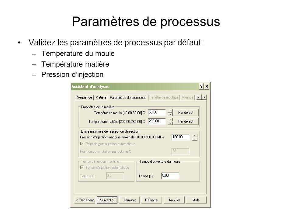 Paramètres de processus Validez les paramètres de processus par défaut : –Température du moule –Température matière –Pression dinjection