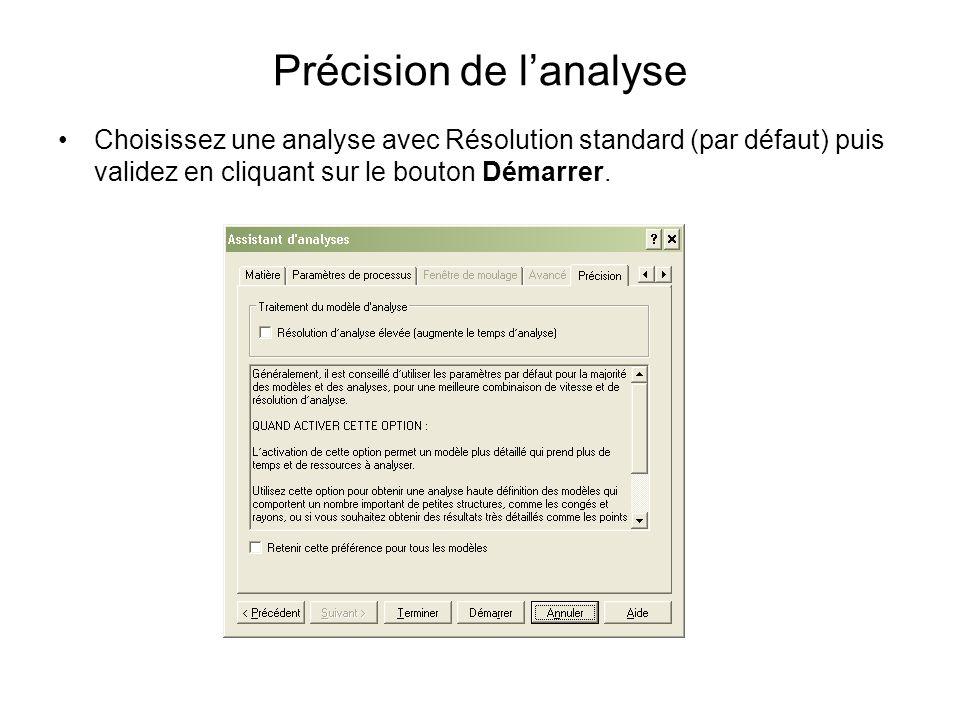 Précision de lanalyse Choisissez une analyse avec Résolution standard (par défaut) puis validez en cliquant sur le bouton Démarrer.