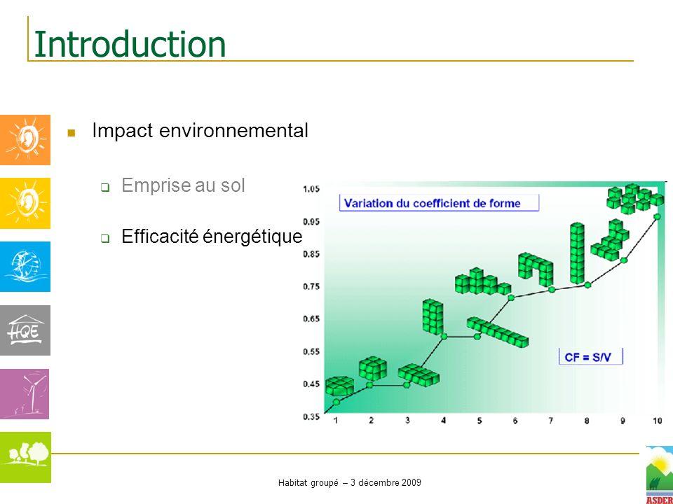 Habitat groupé – 3 décembre 2009 Impact environnemental Emprise au sol Efficacité énergétique Introduction