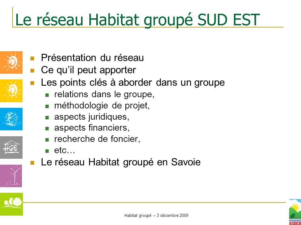 Habitat groupé – 3 décembre 2009 Présentation du réseau Ce quil peut apporter Les points clés à aborder dans un groupe relations dans le groupe, métho